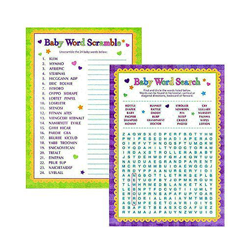 Baby Shower Favor Kits (Adorox Baby Shower Party Game (Pin the Bottle or Pacifier on the Baby) Poster (1pkg) (Scramble/Word Search))
