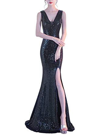 a61a0e422c0b Dora Bridal Women Long Evening Dresses Sequins V-Neck Mermaid Party Dresses  with High Split at Amazon Women's Clothing store: