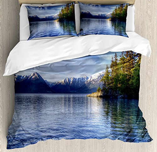 Alaska Queen Size Duvet Cover Set by Ambesonne, Turnagain Arm of the Cook Inlet Anchorage Idyllic Lakeside Photography, Decorative 3 Piece Bedding Set with 2 Pillow Shams, Lime Green Navy - Anchorage For Kids All