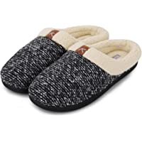 CIOR Fantiny Men's Memory Foam Slippers Wool-Like Plush Fleece Lined Slip-on Clog Scuff House Shoes Indoor & Outdoor