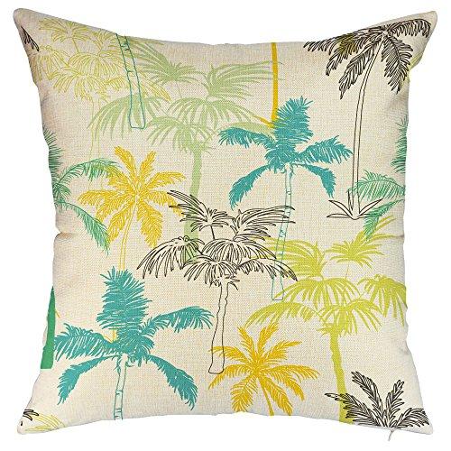 (FIBEROMANCE Coconut Tree Palm Tree Decorative Throw Pillow Cover Spring Summer Decorations Cushion Case for Home Decor Cotton Linen Pillowcase Square 18 x 18 Inch)
