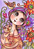 KoKoWill 5D DIY Diamond Painting Kit for Adults Kids, Full Drill Round Crystal Rhinestone Embroidery Cross Stitch Home Wall Decor Art Craft Canvas,Girl and Cat,11.81 x 15.75 inch