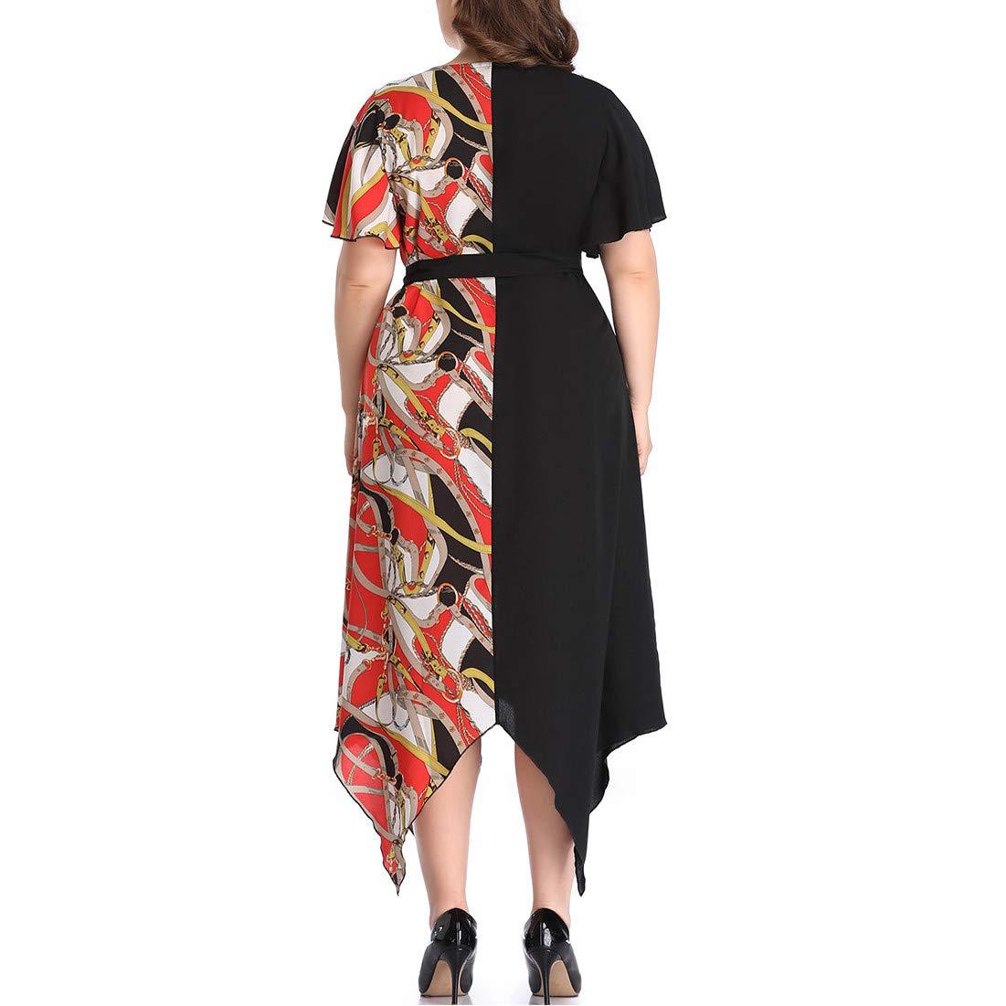 Short Bell Sleeve Print V Neck Women's Maxi Dress Party Dress Irregular Hem Patchwork Dress Purple by Jianekolaa_Dress (Image #4)