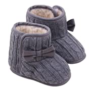 DZT1968® Baby Girl Soft Sole Anti Slip Prewalker Shoes Snow Boots Socks With Bowknot (3~6 Months, Gray)
