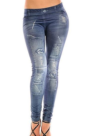 Jeans Cintura Bajo De Mujer Look Elastico Fulline Leotardos ...