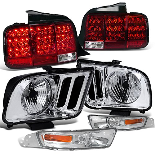 Ford Mustang GT Crystal Chrome Headlights+Bumper Lights+Red LED Tail lights