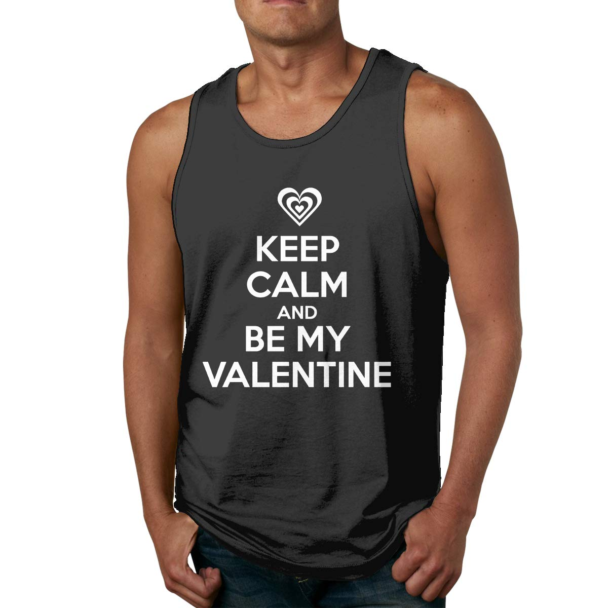 HUALA Man Casual Solid Color Crew Neck Keep Calm BE My Valentine Sports Tank Top