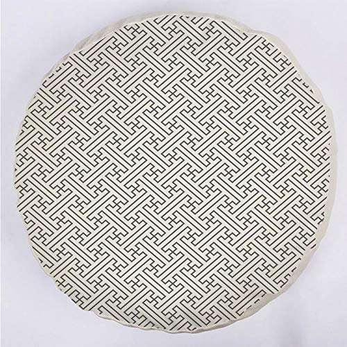 YOUWENll Round Decorative Throw Pillow Floor Meditation Cushion Seating/Minimalist Geometric Trippy Formles Lines Shaping Maze Abstract Graphic Art Decorative/for Home Decoration 17