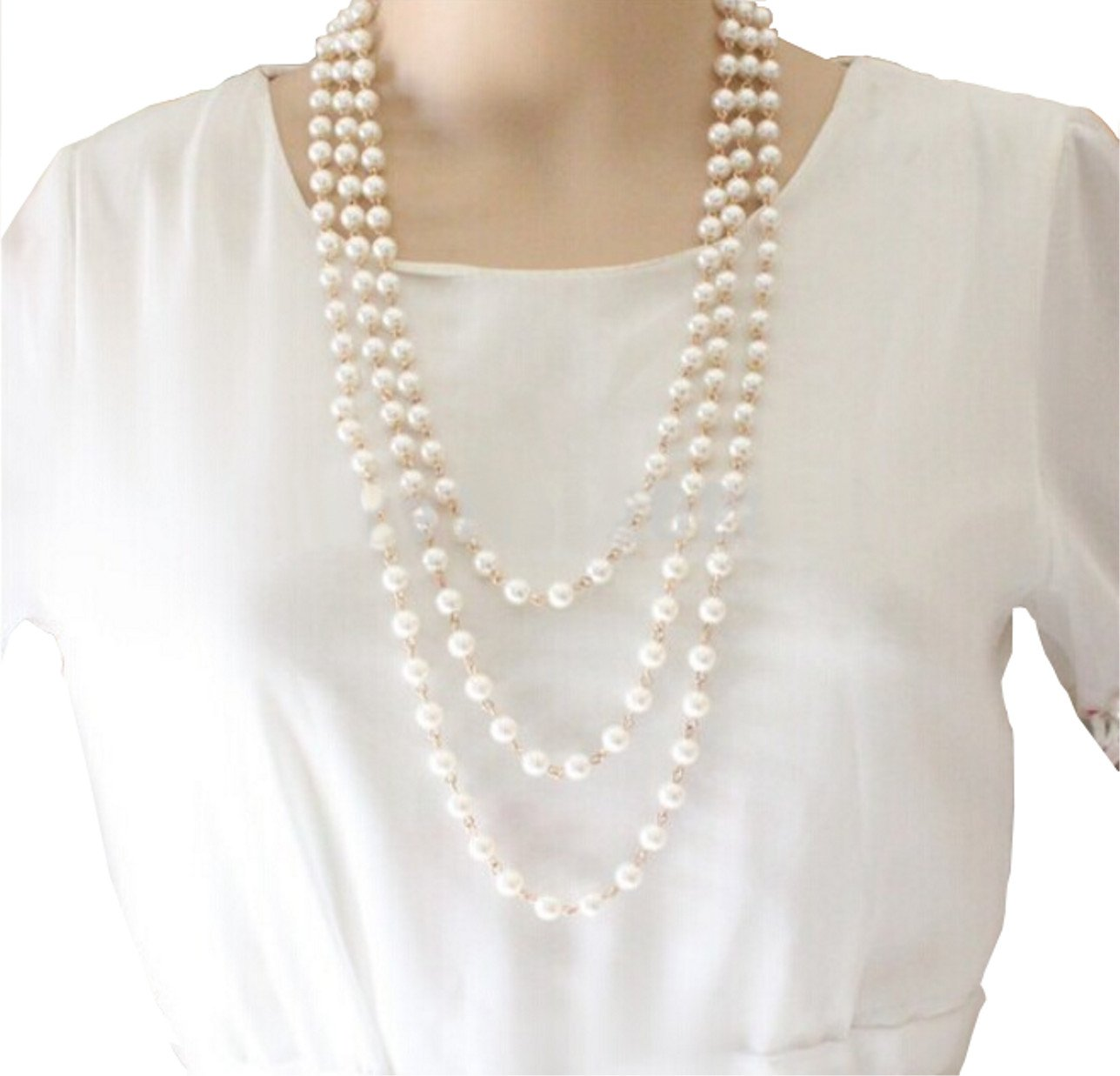 STAYJOY Multi-layer 3-Strand Metal Linked White Pearl Fashion Choker Necklace with Extender