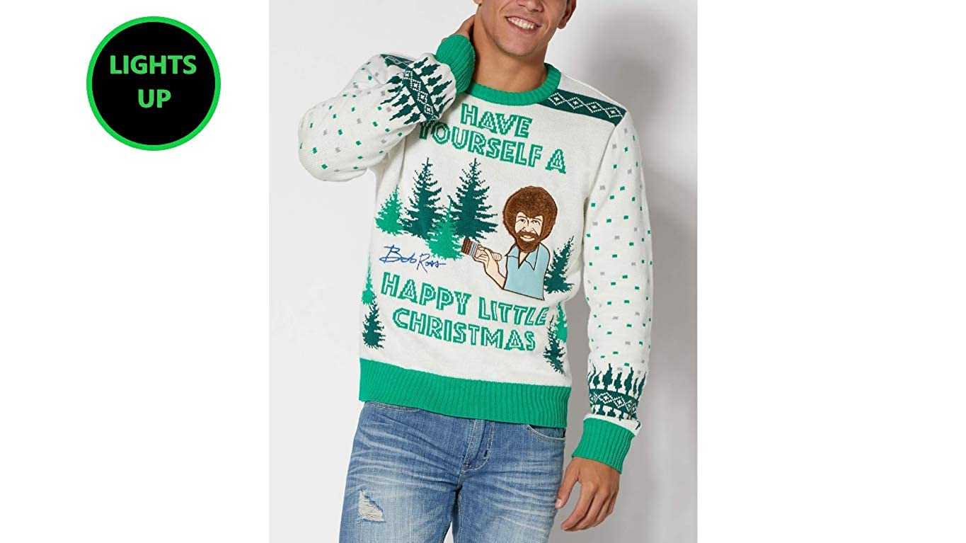Amazon.com: Bob Ross Painter Ugly Christmas Sweater That Lights Up ...