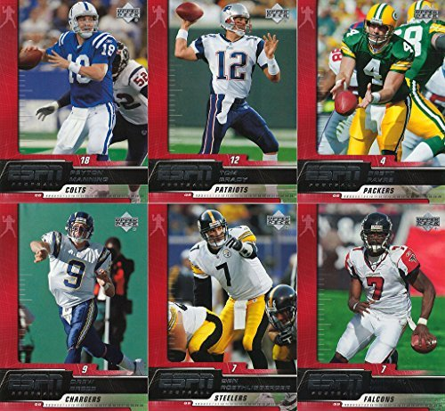2005-upper-deck-espn-football-cards-complete-set-100-cards-vick-favre-brady-manning-roethlisberger-m