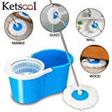 Ketsaal Spin Bucket Mop with 2 Refills- Super Absorbent Refills for All Type of Floors, 360 Degree Spin Bucket, 180 Degree Bendable Handle, for Perfect Cleaning (Color May Vary)
