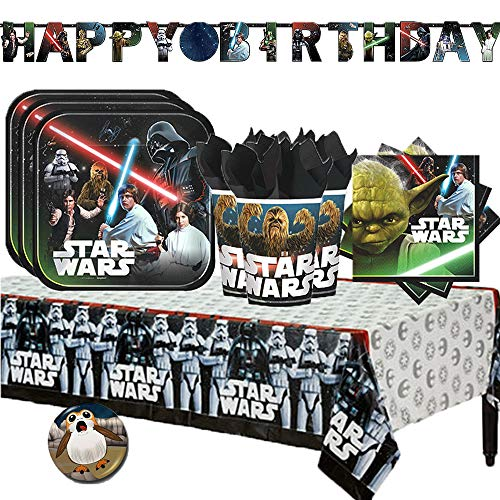 Star Wars Party Supplies Clearance (Star Wars Classic Party Supply Pack with Decorations for 16 with Plates, Napkins, Cups, Tablecover, Customizable Birthday Banner, and Exclusive Porg Pin By Another)
