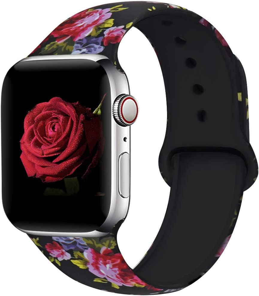 EXCHAR Compatible with Apple Watch Band 40mm 38mm Fadeless Pattern Printed Floral Bands Silicone Replacement Band for iWatch Series 4 Series 3/2/1 for Women Men S/M Flower J14