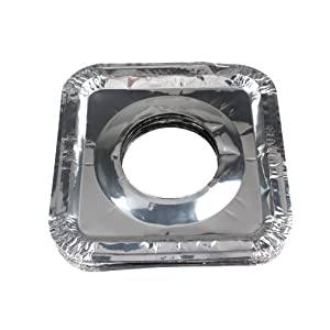 "FASOTY Stove Burner Covers - 50 pcs 8.7"" x 8.7"" Square Aluminum Foil Gas Stove Burner Covers Disposable Range Protectors Bib Gas Top Liners Stove For Easy Clean"