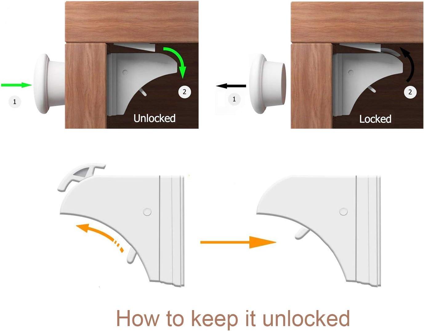 UFelice Cierres magnéticos para armario, 8 cerraduras 2 llaves, cerraduras de seguridad para bebés a prueba de niños, cerraduras para cajones infantiles: Amazon.es: Bebé