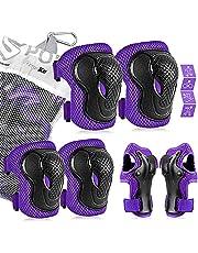 Beschermende uitrusting voor kinderen, kniebeschermers en elleboogbeschermers voor kinderen/jongeren Polsbeschermer 6-in-1 kinder beschermers set voor scooter, skateboard, fiets, inline skaten