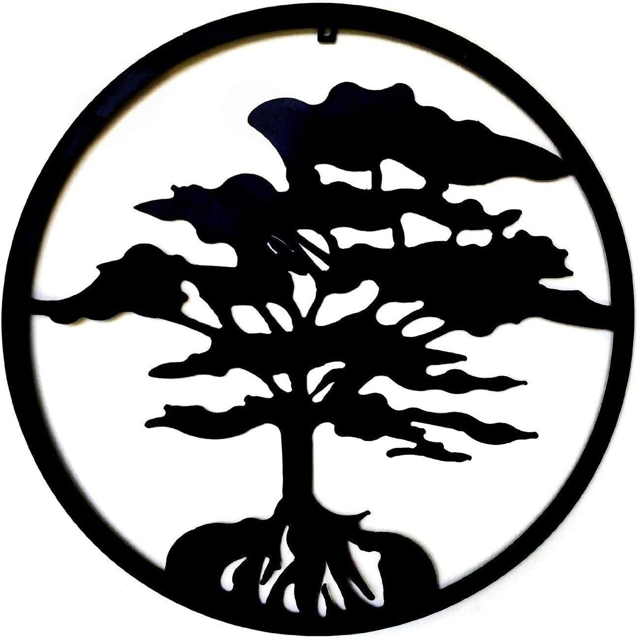 Bellaa 23521 Tree of Life Metal Wall Art Contemporary Home Office Decor Modern Sculptures Plaque Inspirational Celtic Family Trees Round Symbol Large 24 Inch