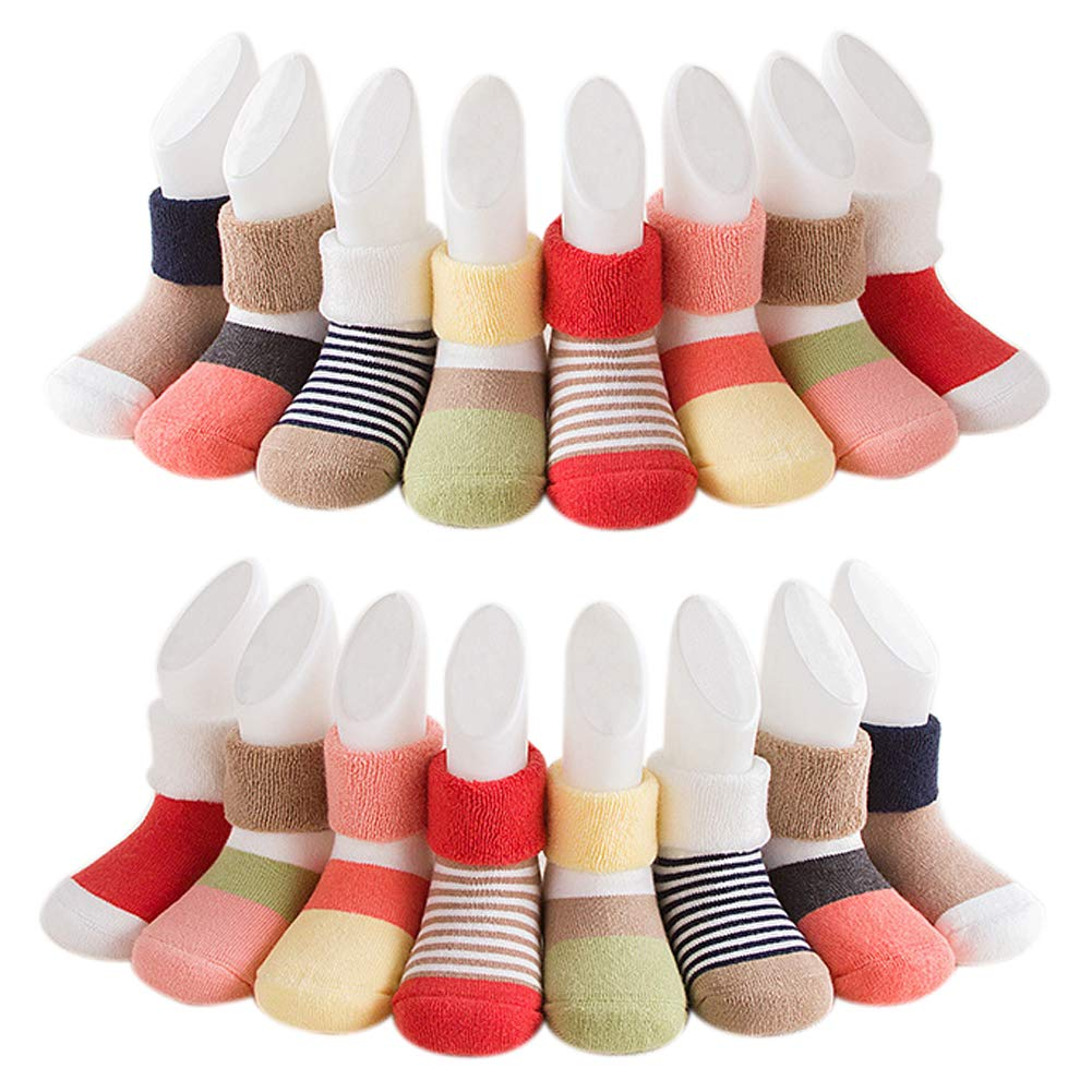Unisex Baby Cotton Winter Socks Cute Warm Socks for Infant Toddlers(8-Pairs) Wellwear