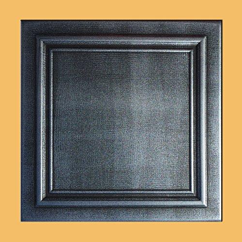 Antique Ceilings Inc - Zeta Silver Black - Styrofoam Ceiling Tile (Package of 10 Tiles) by Antique Ceilings