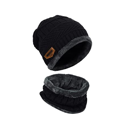 LvLoFit Winter Thermal Knitted Heanie Hat and Circle Scarf Set for Women/Men Warm Snood Suit for Indoors and Outdoor Sports-Best-Popular-Product