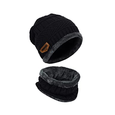 f8c1ce994205 LvLoFit Crochet Bonnet Echarpe Ensemble Chaud Laine Fourrure Snood Fille  Tube Hiver Coupe-vent pour
