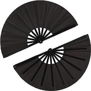 2 Pieces Large Folding Fan Nylon Cloth Handheld Folding Fan Chinese Kung Fu Tai Chi Fan Black Decoration Fold Hand Fan for Party Favors (Black)