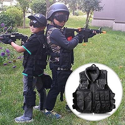 Kid Law Enforcement Tactical Vest,600D Children Outdoor Tactic Chest Vest Military Army Combat Training Vest Military Police Vest CS Game