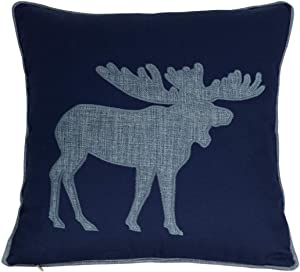 Millianess Navy Cotton Pillow Covers Decorative Moose Pillow Case for Sofa Cushions Covers 18x18 Inches (Navy)