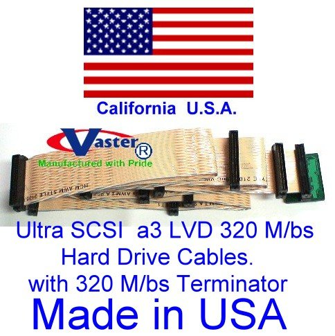 Ultra SCSI Ribbon 320 M/bs SCSI Ribbon Cable with 320 M/bs Terminator (11 Connector 10 Drive) by VasterCable