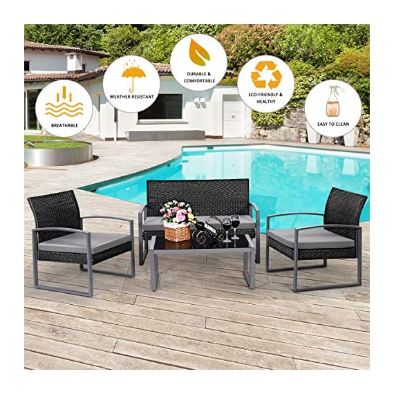 Tangkula 4 PCS Outdoor Patio Furniture Rattan Wicker Conversation Set, As pic - Attractive appearance: equipped with 1 loveseat, 2 chairs and 1 Coffee Table, It is made up with solid steel frame and PE wicker with sponge cushions ensuring a long lifetime. Its stylish armrests and moderate-reclining backrest double the comfort for you to totally relax yourself and make it more eye-catching. Easy carry: Made of lightweight Rattan material, it can be carried easily and labor-efficiently to the desired place. Its compact structure and beautiful texture can surprisingly highlight your patio or poolside Deco. Moment to clean: table with removable tempered glass adds a sophisticated touch and allows you to places drinks, meals and other accessories on top. And you can clean it easily with just a wipe when there is water strain on it. The separable Seat cushion also enables you a quick wash. - patio-furniture, patio, conversation-sets - 61g78EiT fL. SS570  -