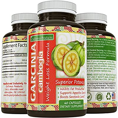 Thermo Pure Garcinia Cambogia Extract 95% HCA - Weight Loss and Energy Complex - Burn & Block fat Fast - Extra Strength Supplement for Women and Men by California Products(60 capsules)