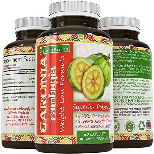 Thermo Pure Garcinia Cambogia Extract 95 % HCA - perte de poids et énergie complexe - graisse de brûlure & bloc rapide - supplément de force supplémentaire pour les femmes et les hommes de Californie Products(60 capsules)