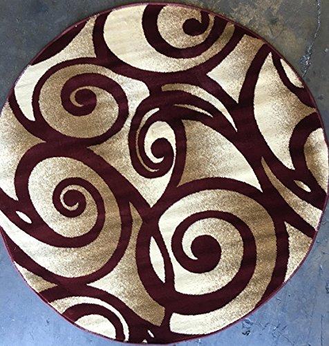 Modern Round Contemporary Area Rug 256,000 Point Burgundy Swirl Bellagio Design 341 (5 Feet 3 Inch X 5 Feet 3 Inch )
