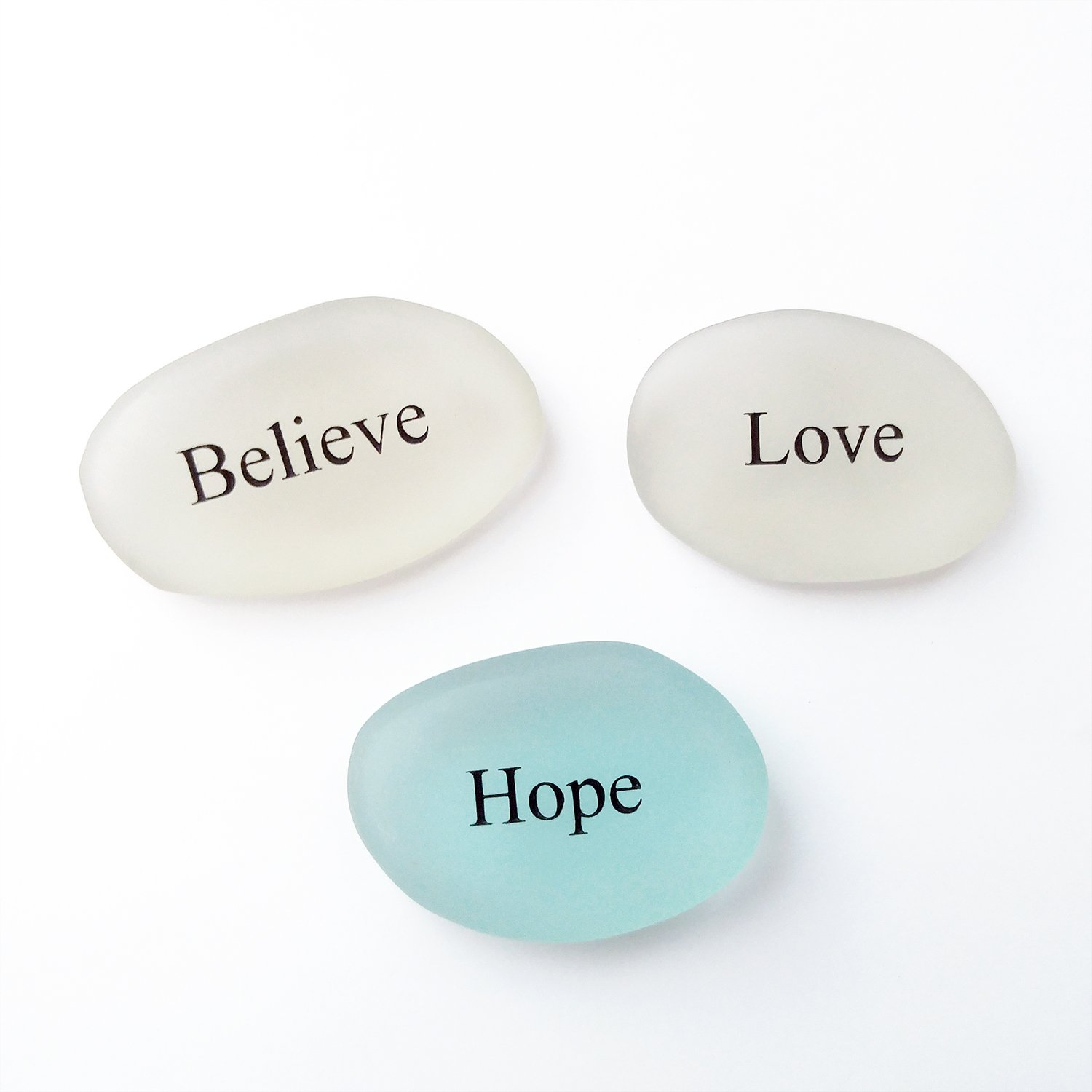 Believe, Hope, Love Sea glass Engraved Stones Motivational Inspirational Words, Perfect Gorgeous Unique Gift Ideas for Any Occasion Sets, Home Garden Decor (Believe, Hope, Love)