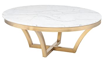 Aurora Coffee Table In White And Gold By Nuevo