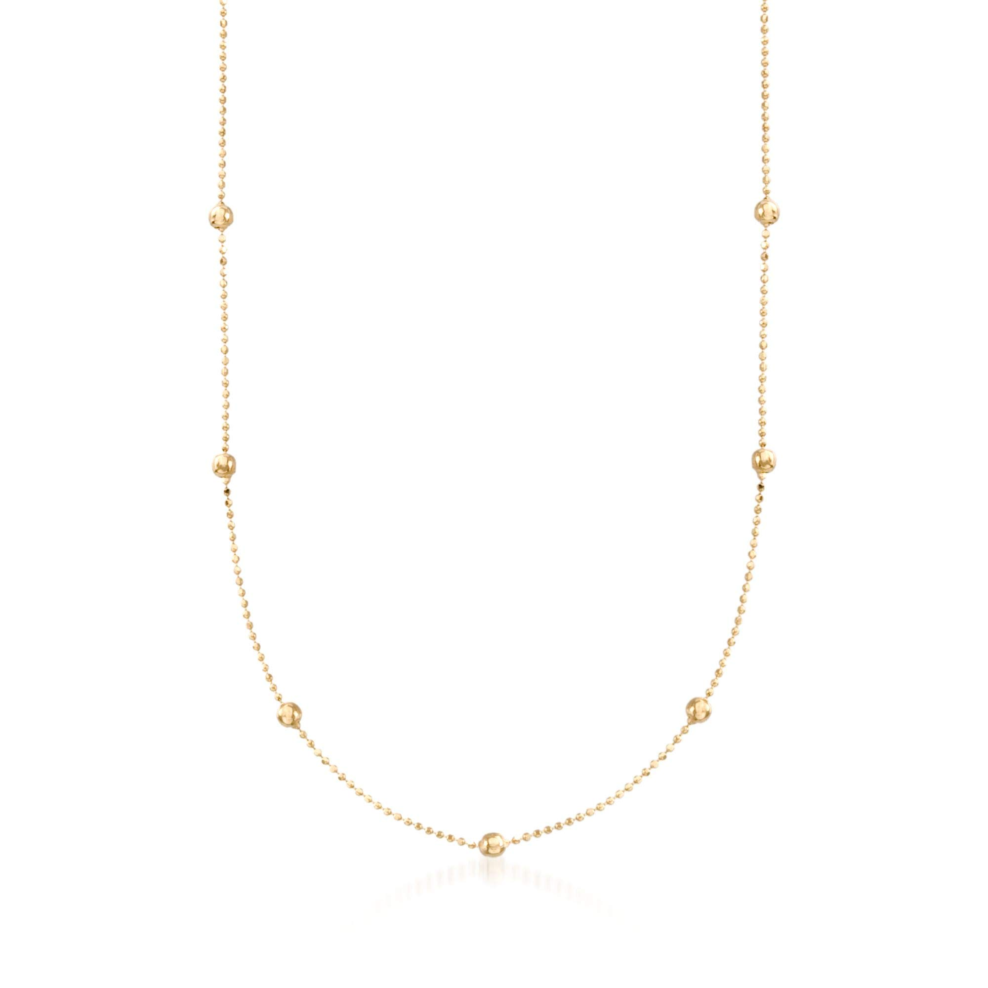 Ross-Simons 2mm 14kt Yellow Gold Bead Station Necklace by Ross-Simons