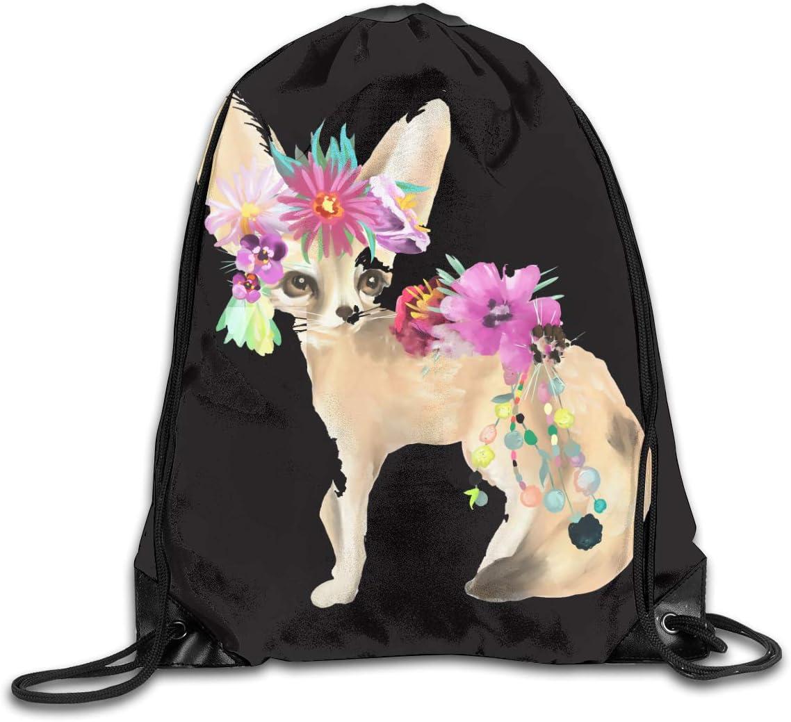 Fennec Fox Plush Cute Flower Drawstring Bag Stylish Cute Print Lightweight Sackpack Sport Gym Bundle Backpack Theme Novelty Outdoor Classic