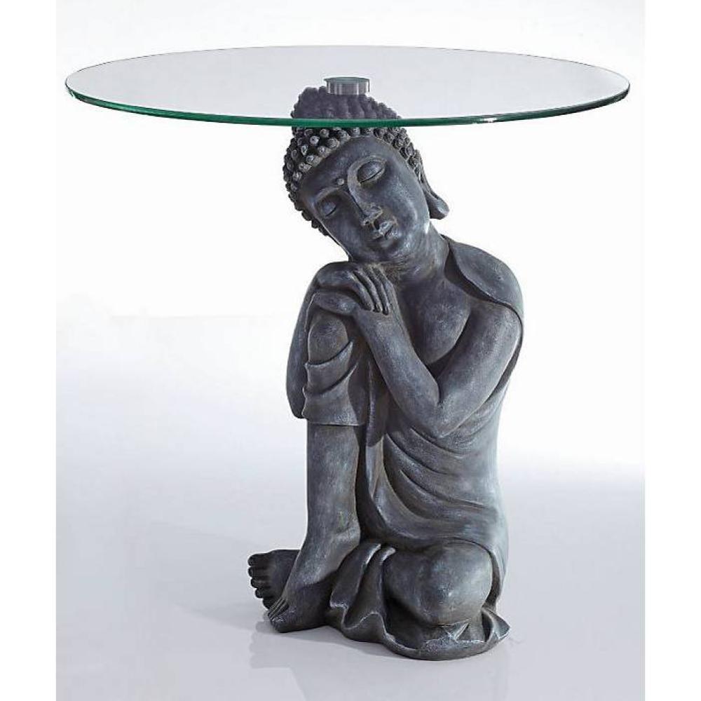 Beistelltisch Buddha Figur Im Antik Look Couchtisch Deko Tisch Mit Glasplatte NEU Amazonde Kuche Haushalt