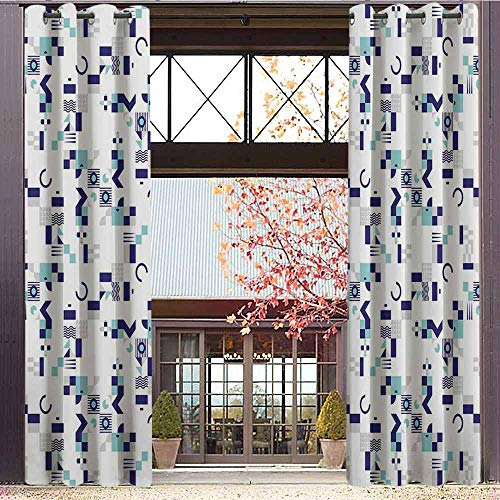 Top Inspired Peace Silk (Mid Century Shading Insulated Curtain Art Deco Inspired Pattern from Seventies with Geometrical Shapes for Living Room or Bedroom W84 x L96 Inch Turquoise Navy Blue Grey)