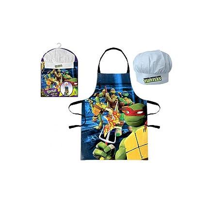 Conjunto TOB101291 de mandil y gorro de cocina infantil de Tortugas Ninja