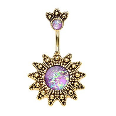 Gold Plated 14 GA Golden Lightning Bolt Belly Button Ring 316L Surgical Stainless Steel Body Piercing Jewelry For Women and Men Davana Enterprises