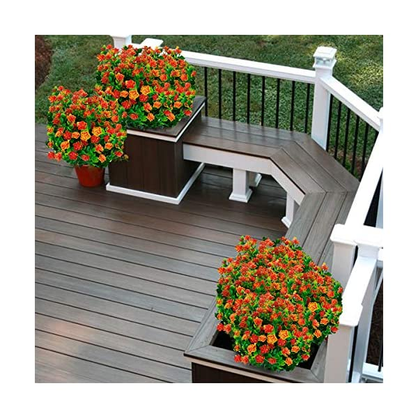 TURNMEON 8PCS Artificial Flowers Outdoor UV Resistant Plants, 8 Branches Faux Plastic Greenery Shrubs Plants Indoor Outside Hanging Planter Kitchen Home Wedding Office Garden Decor