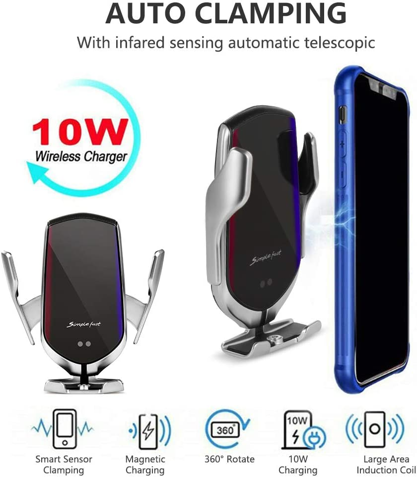 Wireless Car Charger 10W Qi Fast Charging Auto-Clamp Car Mount Air Vent Smart Sensor Universal Phone Holder Compatible with iPhone 11//8//8P//X//XS//XR Support All Phone Samsung S10//S9//S8//Note10//Note9