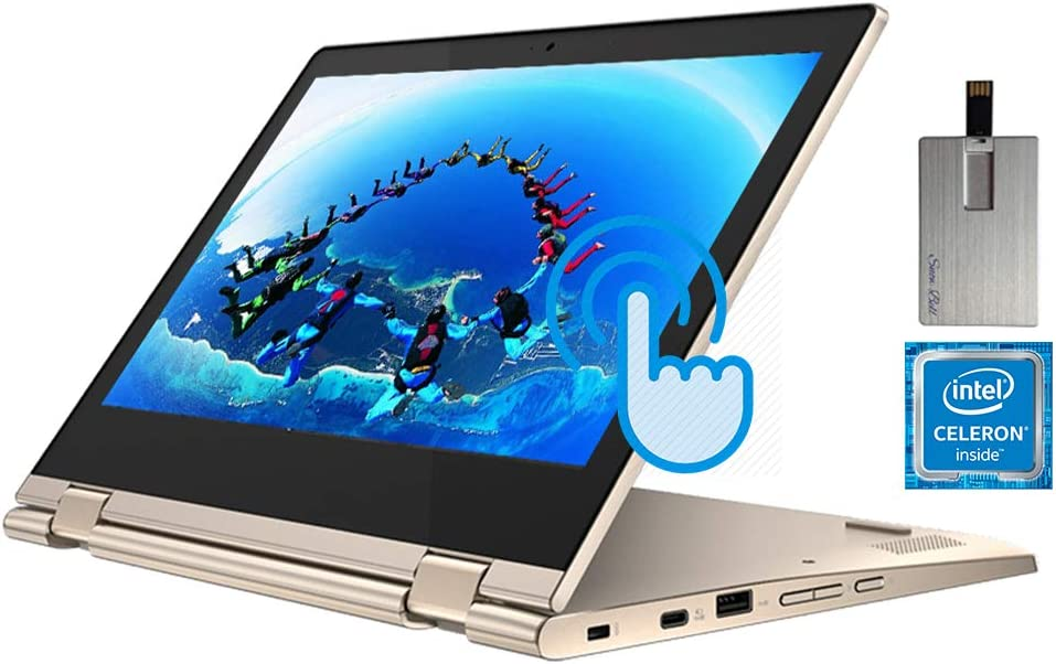 "2020 Lenovo Chromebook Flex 3i 2-in-1 11.6"" HD Touchscreen Computer, Intel Celeron N4020 CPU, 4GB RAM, 64GB eMMC, Intel UHD Graphics 600, Webcam, USB-C, Chrome OS, Almond, 128GB SnowBell USB Card"