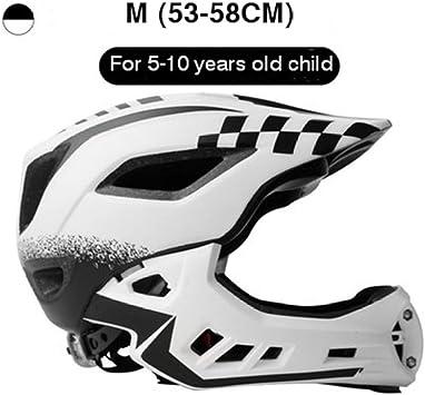 HLOEC Ciclismo Casco Completo para niños Casco de Seguridad Deportiva Cascos para niños para Bicicleta de Equilibrio Motocross Downhill BMX Casco Integral 2 en 1, Blanco M: Amazon.es: Deportes y aire libre
