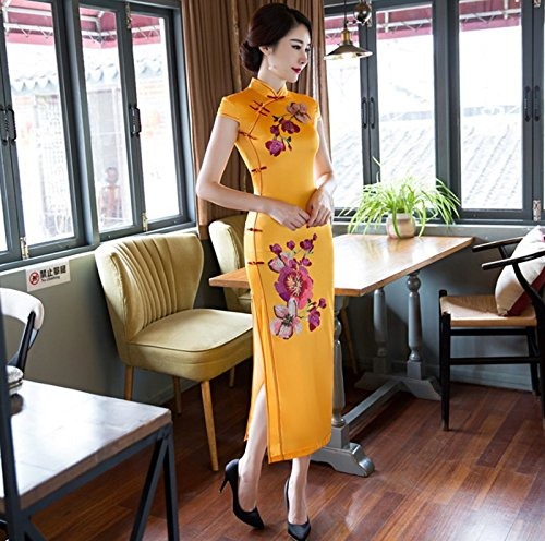 Luck Femme Robe Longue Chinoise Traditionnelle Col Debout Motif Fleur Polyester Jaune
