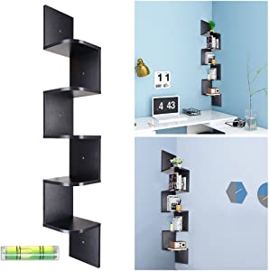 Yescom 5 Tiers Zig Zag Floating Wall Mount Corner Shelf Wooden Display Shelves Storage Organizer with Gradienter Black