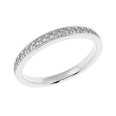 UK Hallmarked Heavy 2 Grams White Gold & 1/4 Carat Diamonds Set Half Eternity Ring zOUvCf