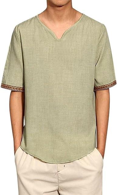 Hola aquí! Camisas de lino tradicionales para hombres Blusas sueltas con cuello en V de manga corta casual Blusa suelta camisetas hombre manga corta☆Longra: Amazon.es: Alimentación y bebidas